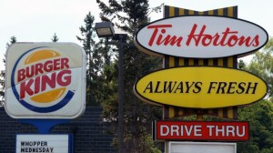 The fast food giant has just purchased the Canadian chain, Time Hortons. Stock Photo.