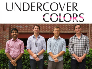 Four male college students help to put an end to date rape with the nail polish designed to detect drugs. Stock Photos.