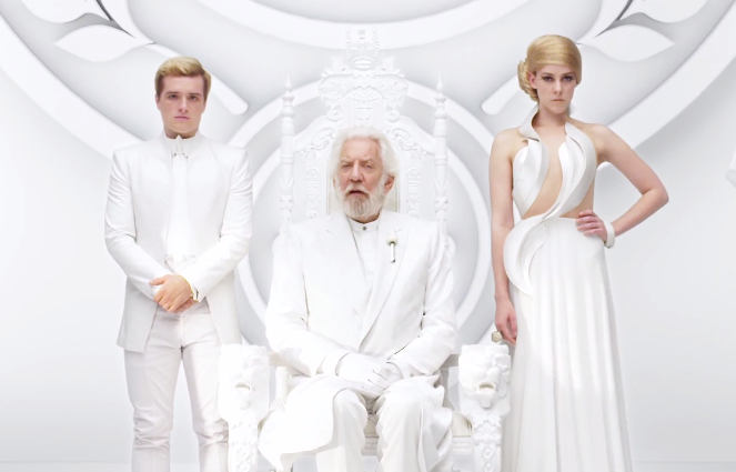 Peeta Mellark (Josh Hutcherson), President Snow (Donald Sutherland) and Johanna Mason (Jenna Malone). Stock Photo.