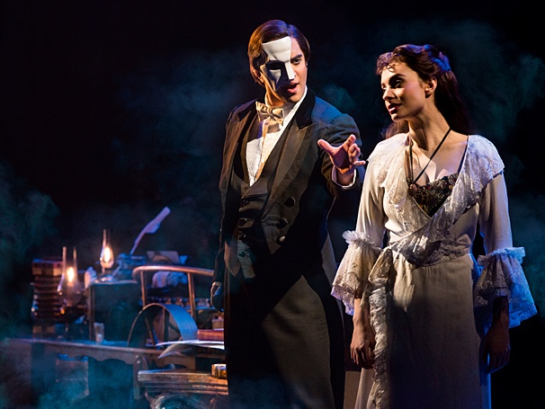 "Above: The touring cast of ""The Phantom of the Opera."" Stock Photo."