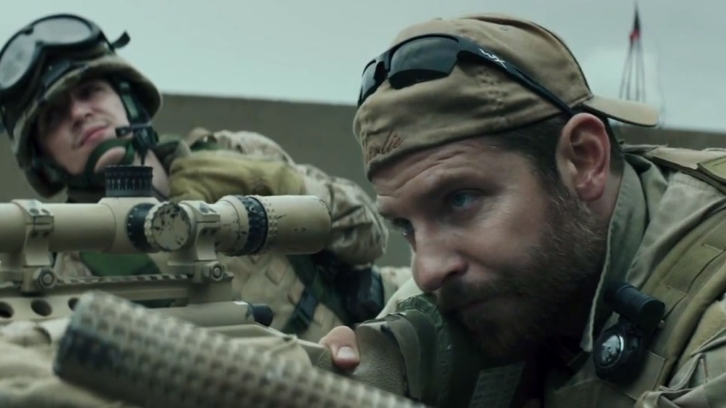 "Above: Bradley Cooper stars as Chris Kyle in ""American Sniper."" Stock Photo."