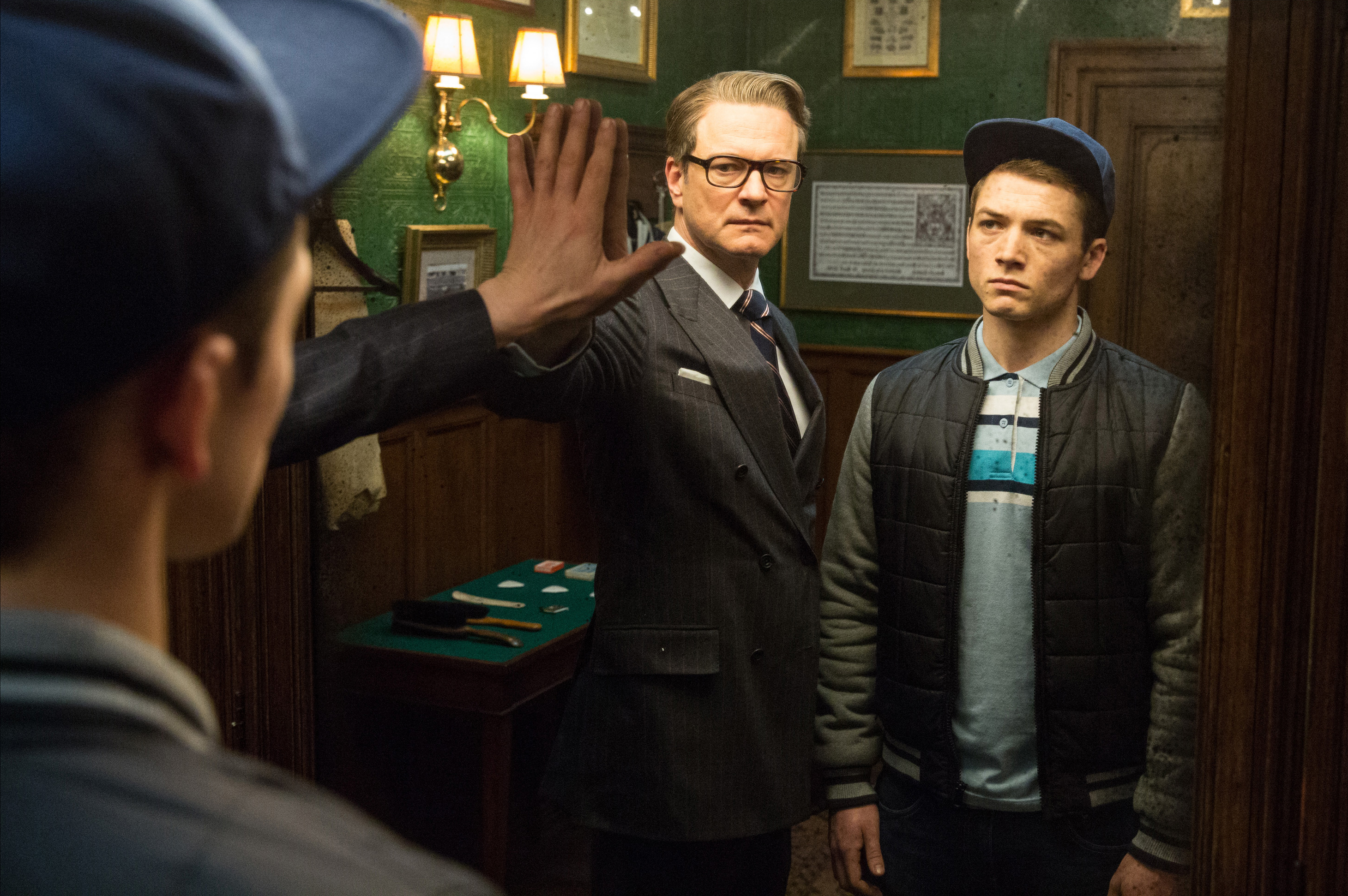 "Above: Actors Colin Firth and Taron Egerton in the film ""The Kingsman: The Secret Service""."