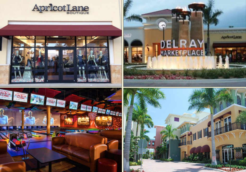 Above: From great restaurants to fashionable boutiques, there is always something fun to do at the Delray Marketplace. Stock Photos.