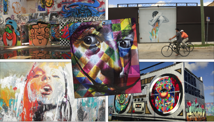 Above: Various pieces of art work by many different artists line the streets of Miami in a cool set-up for students. Staff Photos / V. Haggar.