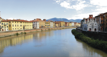 Above: The view of Florence, and a river through Italy. Stock Photo.