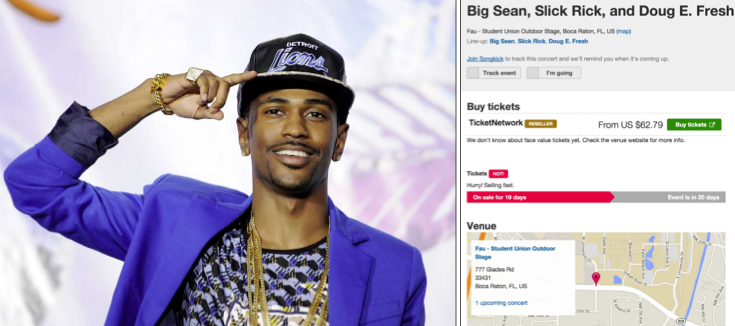 Above: Make sure to grab Big Sean tickets before his performance on Wednesday night at Florida Atlantic University sells out. Stock Photos.