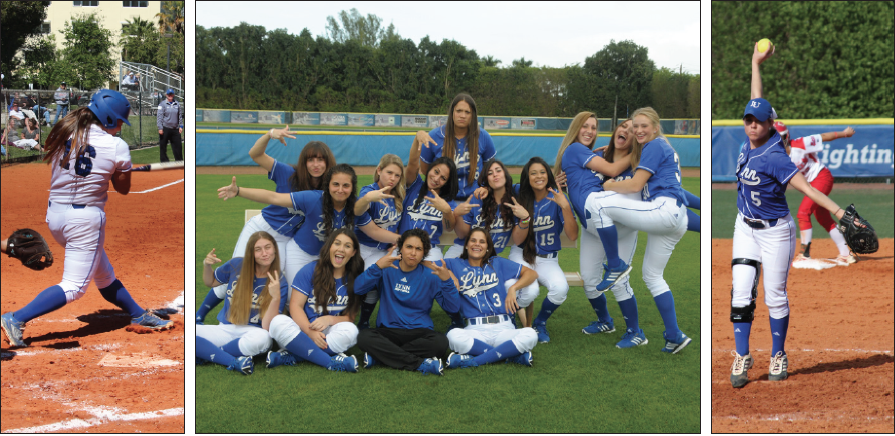 Above: Lynn's Women's Softball team is closer than ever - both in friendship and getting to a winning record this season. LU Photos.