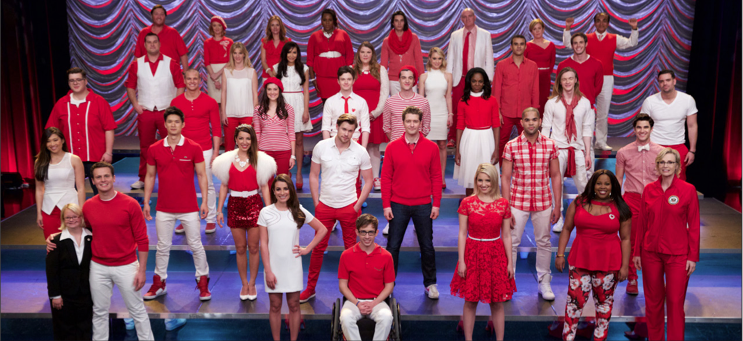 "Above: Almost the entire cast got back together for one final and very special performance in the series finale of ""Glee."" Stock Photos."