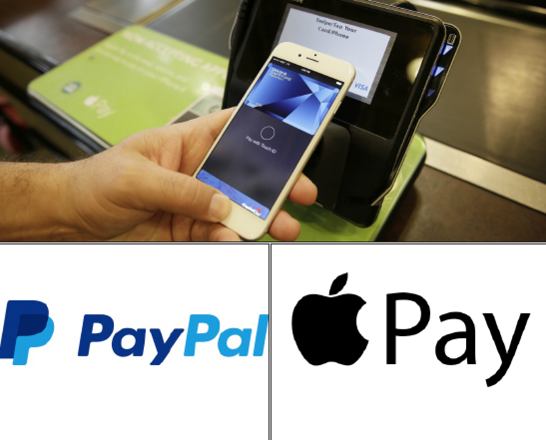 Above: PayPal and Apple Pay are two competing ways that people can now conduct their payments online. Stock Photos.
