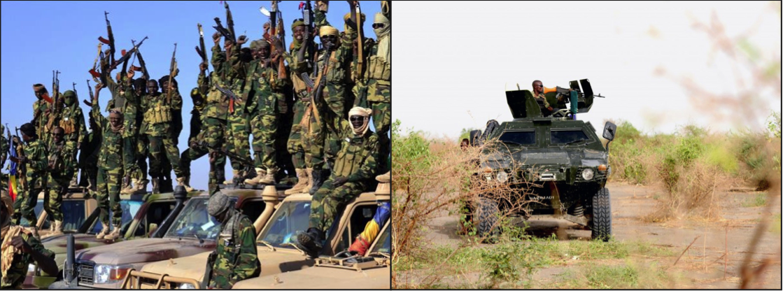 Above: Nigerian Army patrols regained areas, as more and more gains have been made by the coalition against Boko Haram. Stock Photos.