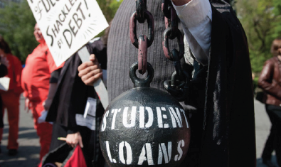 Above: Students are suffering with the enormous amount of debt after college. Stock Photo.