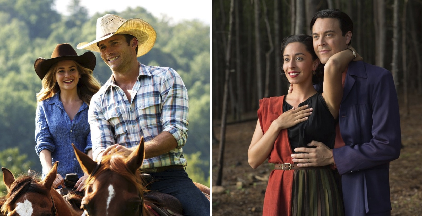 "Above: Britt Robertson, Scott Eastwood, Oona Chaplin and Jack Huston star as two couples figuring out life in two different time periods in ""The Longest Ride."" Stock Photos."