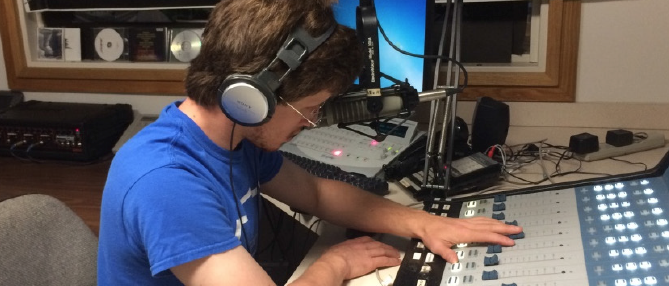 Above: Students who have always wanted to host their own radio show are able to finally do so here at Lynn. LU Photo.