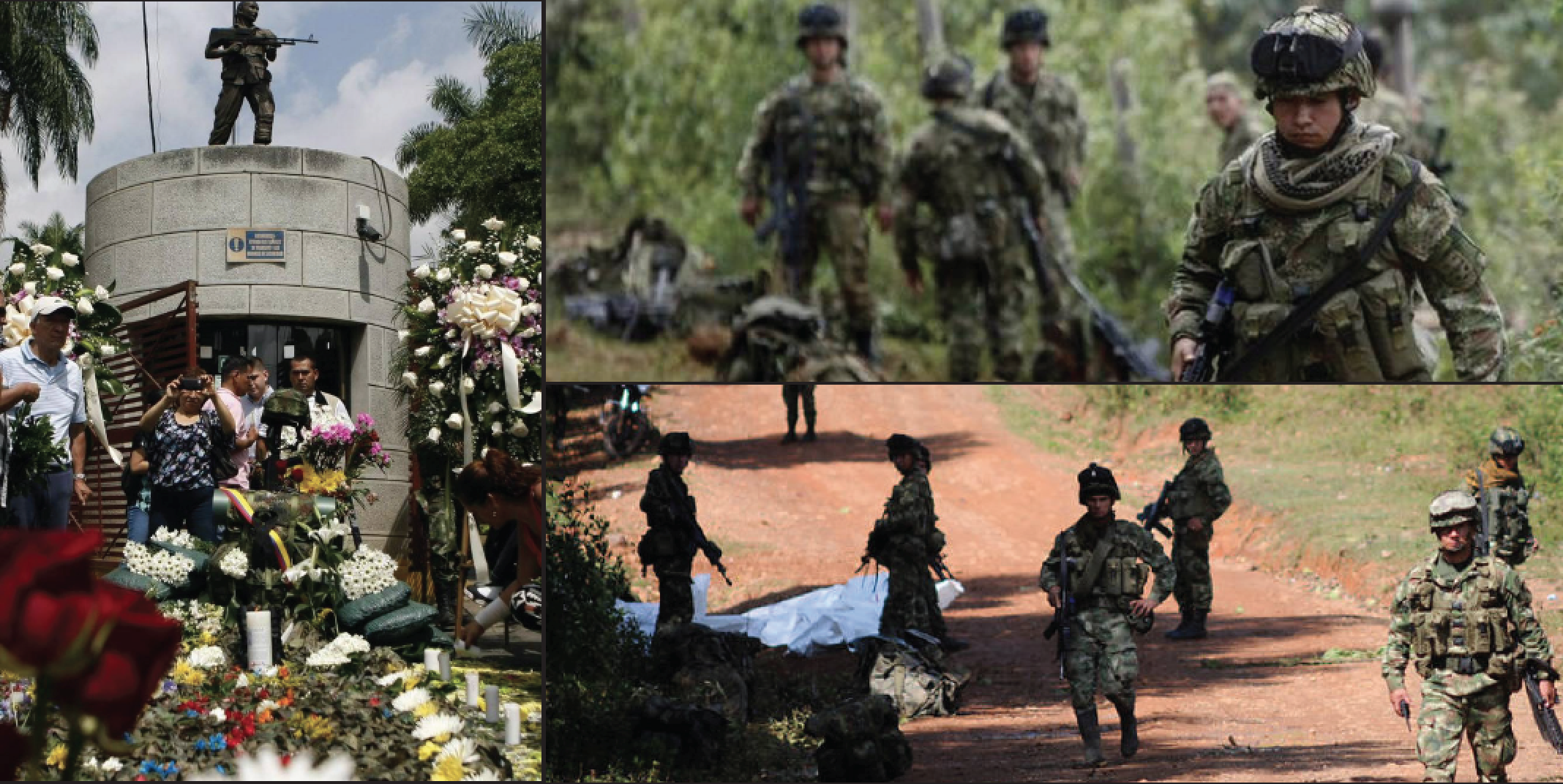 Above: The war between Columbia and Fuerzas Armadas Revolutionaries de Columbia (FARC) still continues. Stock Photos.