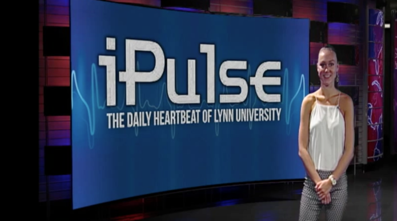 Above: Freshman Kate Britten gives the iPulse News Minute update. LU Photo.