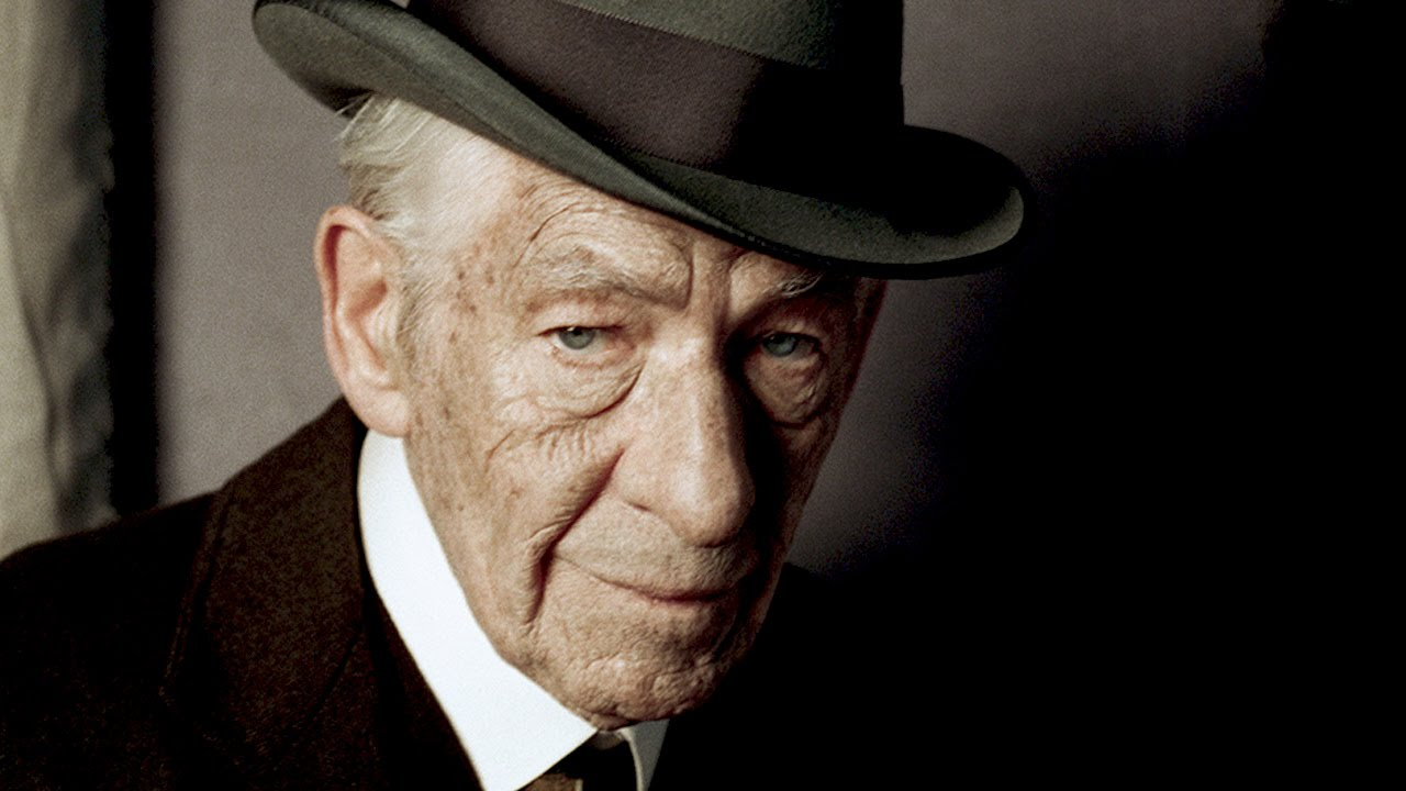 "Above: Actor Ian McKellen takes the lead as Sherlock Holmes in the last franchise film, ""Holmes."" Stock Photo."