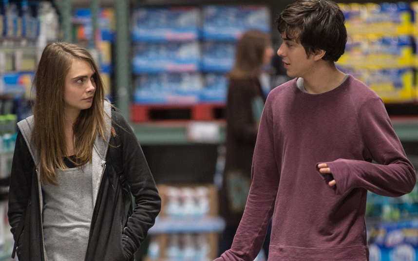 Above: The search for Margo Roth Speigelman (Cara Delevingne) is an adventure of a lifetime that changes Quentin Jacobsen's (Nat Wolff) life entirely. Stock Photo.