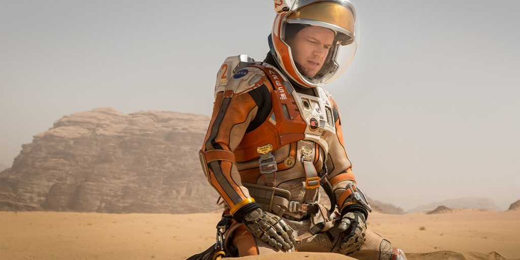 "Above: Matt Damon struggles to get home alive in ""The Martian."" Stock Photo."