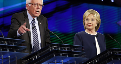 Hillary Rodham Clinton, right, looks on as Sen. Bernie Sanders, of Vermont, speaks during the CNN Democratic presidential debate Tuesday, Oct. 13, 2015, in Las Vegas. (AP Photo/John Locher)