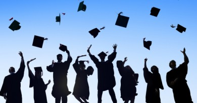 Group Of Students Celebrating Graduation and Throwing Caps