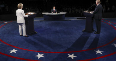 Democratic presidential nominee Hillary Clinton, left and Republican presidential nominee Donald Trump listen to a question from Moderator Chris Wallace of FOX News during the third presidential debate at UNLV in Las Vegas, Wednesday, Oct. 19, 2016. (Joe Raedle/Pool via AP)