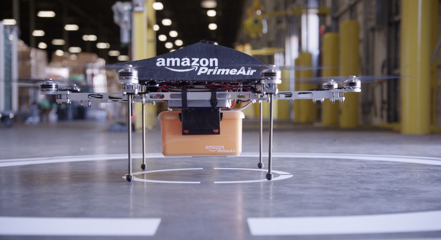 Amazon drone on launch pad in warehouse